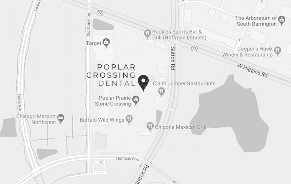 location map of Poplar Crossing Dental office