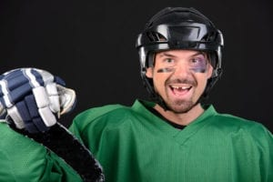 Hockey player with tooth knocked out